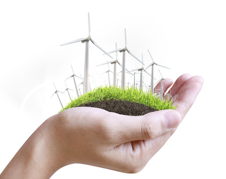 viewfinderchallenge3: Wind turbine in a man hand  Stock Photo