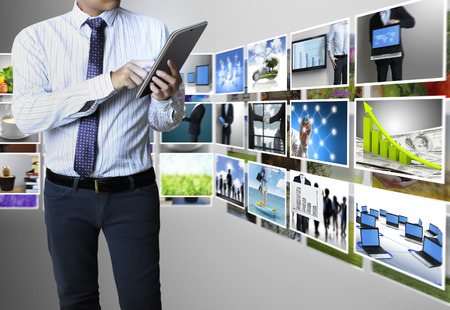 article marketing: touch screen ,touch- tablet in hands