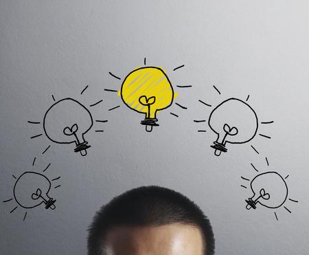 brilliant idea: idea concept, lamp head businessman  Stock Photo