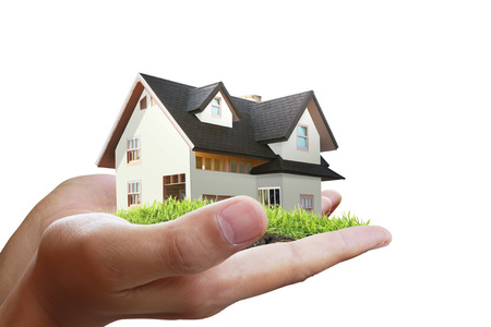 Business man house in human hands 版權商用圖片 - 29254571