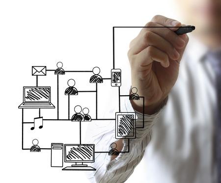 Business-Mann Zeichnung sozialen Netzwerk-Struktur Standard-Bild - 29254808
