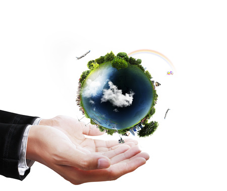 water ecosystem: holding a glowing earth globe in his hands globe in his hand.  Stock Photo