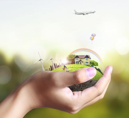 cielos abiertos: Negocios hombre casa en manos humanas
