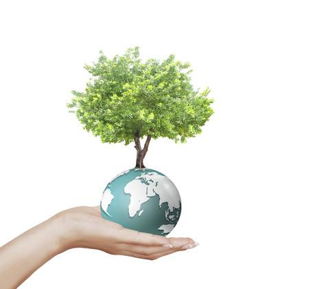 calentamiento global: la celebraci�n de un globo terr�queo que brilla intensamente en sus manos