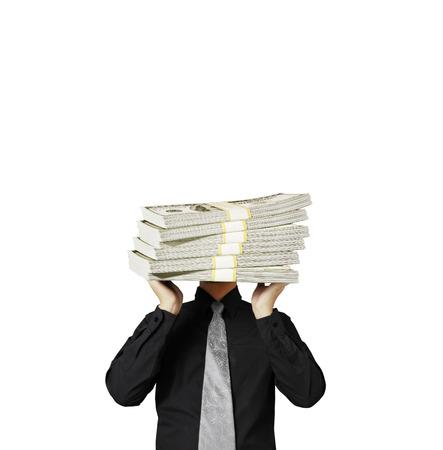 head lifting the dollar ,businessman