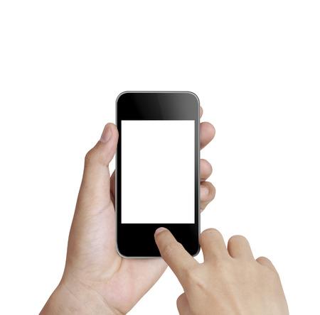 Close up hand holding smart phone photo
