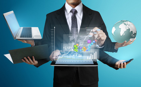 electronic mail: Working on a digital tablet ,Technology in the hands of businessmen  Stock Photo