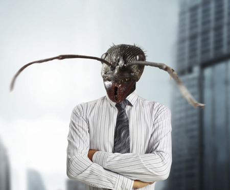 untrustworthy: Businessman with a ants head instead of his human head