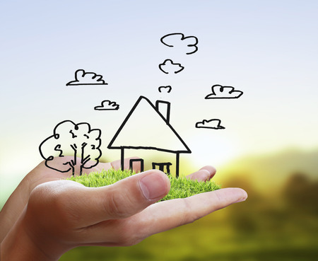 Real estate idea, holding house Foto de archivo