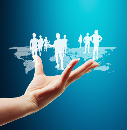 Hand pushing social network structure Stock Photo