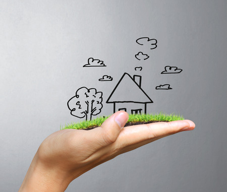 real estate background: Real estate idea, holding house Stock Photo