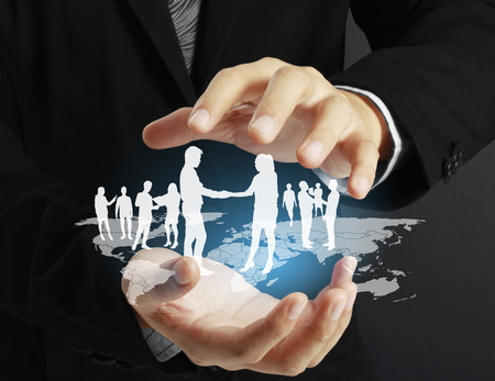 social network structure in a hand Stock Photo