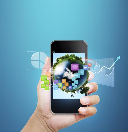 smart phone hand: Close up hand holding smart phone