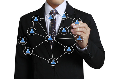 net meeting: Business man drawing social network structure