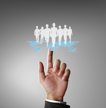 team communication: social network structure in a hand Stock Photo