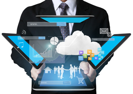 corporate people: Businessman using tablet social connection,conceptual image of social connection