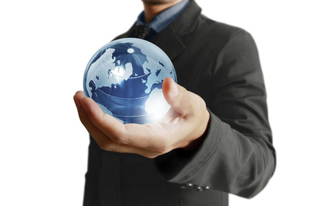provided: holding a glowing earth globe in his hands. Earth image provided by Nasa