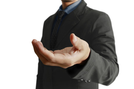 businessmen open a hand
