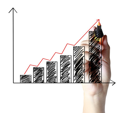increase business: hand drawing a graph Stock Photo
