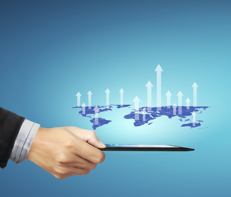 using tablet: Businessman using tablet social connection,conceptual image of social connection
