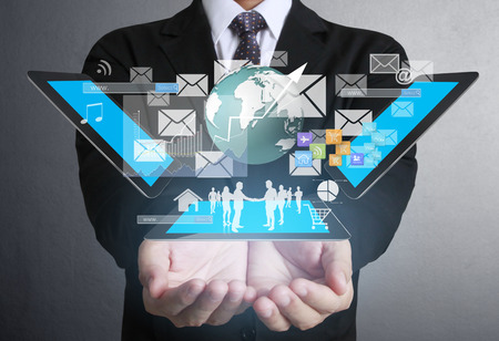 global communication: Businessman using tablet social connection,conceptual image of social connection