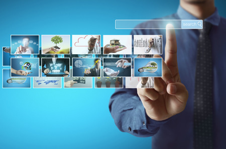 tv panel: businessmen and Reaching images streaming, digital photo album
