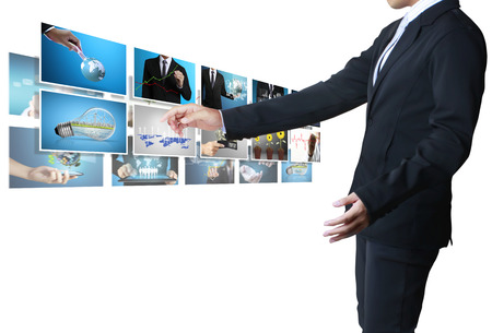 and the horizontal man: Businessman touch screen to choose digital photos