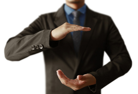 Open palm hand gesture of male hand Stock Photo