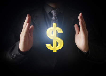 business transaction: Man touching online button with money icon, money concept