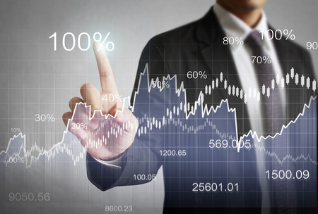 zakenman met financiële symbolen uit han
