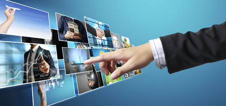 flat screen: businessmen and Reaching images streaming, digital photo album