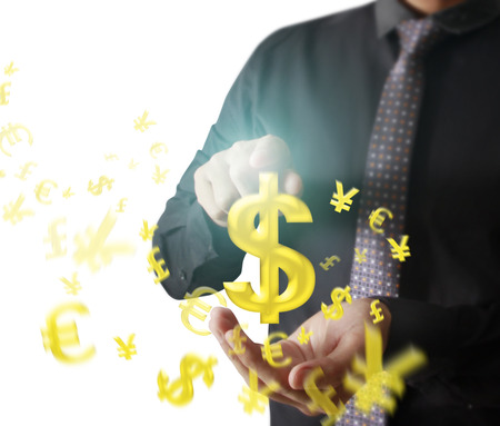 money concept: Man touching online button with money icon, money concept