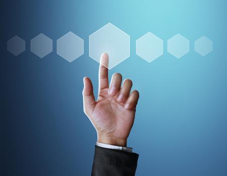 network concept: Man Hand pressing modern social button