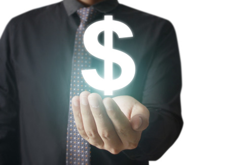 technology transaction: Man touching online button with money icon, money concept