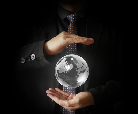 detailed image: Man holding  earth in hand Extremely detailed image including elements furnished by NASA