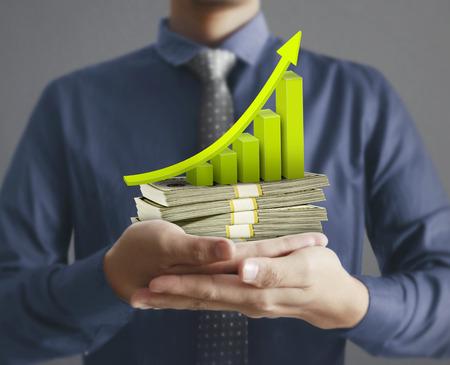 man hand met een dollar Stockfoto
