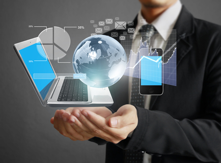 communication tools: Technology in the hands of businessmen Stock Photo
