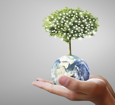 earth pollution: Globe ,earth in human hand, hand holding our planet earth glowing. Earth image provided by Nasa Stock Photo