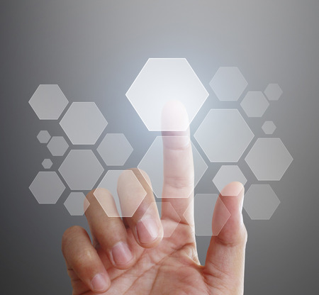 touch screen: Man Hand pushing on touch screen interface