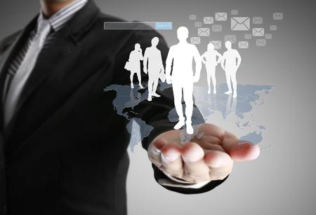 social web: male touching virtual icon of social network Stock Photo