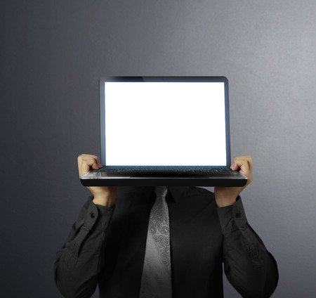 3 persons only: man showing a laptop against