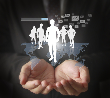 network concept: social network structure in a hand Stock Photo