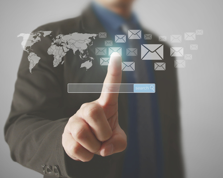 messages: Holding virtual icon of social network Stock Photo