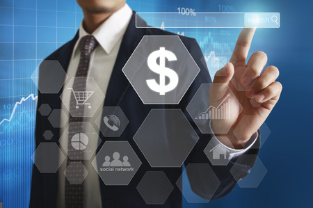 economic: Businessman with financial symbols coming Stock Photo