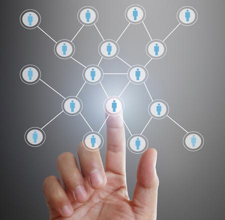 obra social: touching virtual icon of social network