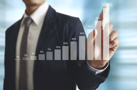 foreign exchange rates: Businessman with financial symbols coming Stock Photo