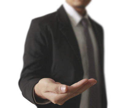 take a: Business man empty open hands Stock Photo
