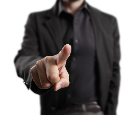 hand pointing: male hand pointing,businessman