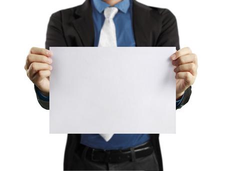 blank sheet: hoja de papel en blanco en la mano hombre de negocios Foto de archivo