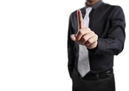 El empujar manualmente en interfaz de pantalla táctil